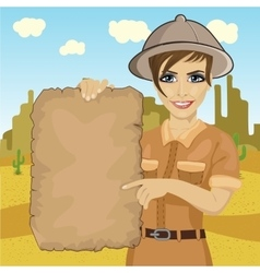 explorer woman hat holding treasure map vector image vector image