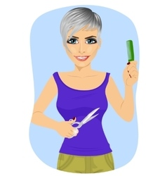 female hairdresser with pair of scissors and comb vector image