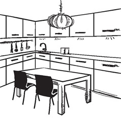 Modern kitchen room sketchy on white vector image vector image