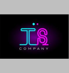 Neon lights alphabet ts t s letter logo icon vector