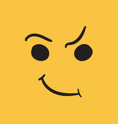 Simple smile icon hand drawn face doodle on vector