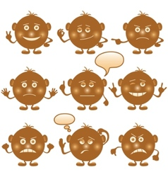 smilies round set brown vector image