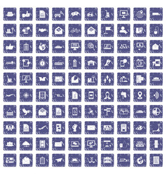 100 post and mail icons set grunge sapphire vector