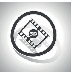3D movie sign sticker curved vector