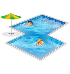 A pool with a boy and a girl swimming vector image