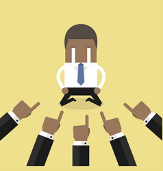 African businessman with hands pointing at him vector