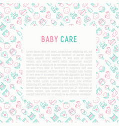 Baby care concept with thin line icons vector