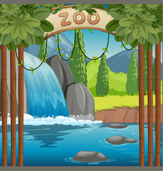 Background scene zoo park with waterfall vector