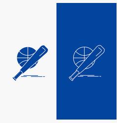 baseball basket ball game fun line and glyph web vector image