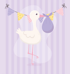 Bashower stork with diaper and pennants vector