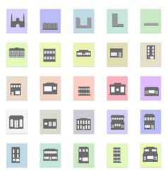 black buildings set black icon on color vector image