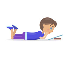 Boy in shirt lie on floor and read book vector