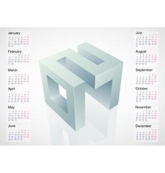 Calendar 2017 with 3D emblem vector image