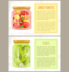 Canned tomatoes and cucumbers vector