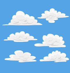 cartoon clouds in blue sky set of white clouds vector image