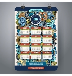 Cartoon doodles nautical 2017 calendar vector image