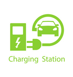 charging for electric vehicles logo road sign vector image