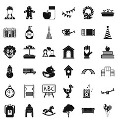 childcare icons set simple style vector image