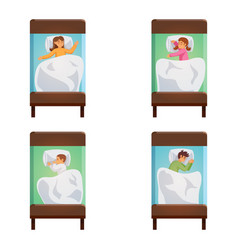 children sleeping poses isolated set vector image