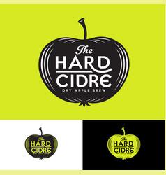 Cider logo letters apple silhouette vintage label vector