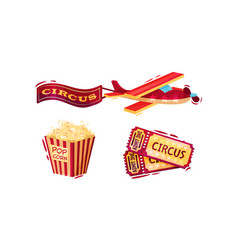 Circus attribute with popcorn and tickets vector