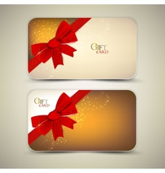 Collection of gift cards with red ribbons vector