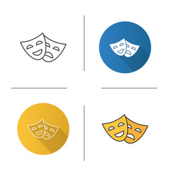 comedy and tragedy masks icon vector image