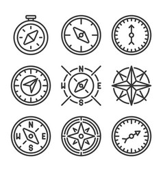 Compass and wind rose icons set on white vector