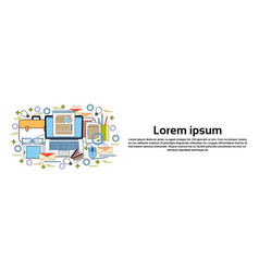 computer desktop with finance chart business vector image