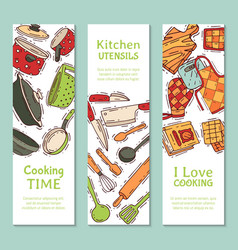 Cooking equipment banner kitchenware or vector