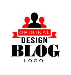 Creative vlog logo design with people silhouettes vector