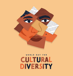 Cultural diversity day ethnic people face mix vector