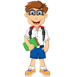cute student cartoon go to school vector image