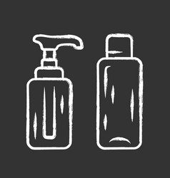 Empty reusable containers chalk icon shampoo vector