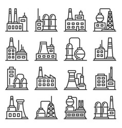 factory and industrial building icons set line vector image
