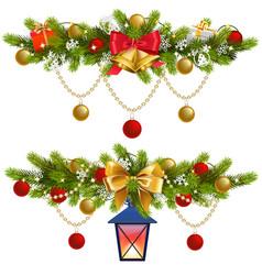 fir decoration with golden garland vector image