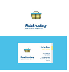 Flat basket logo and visiting card template vector