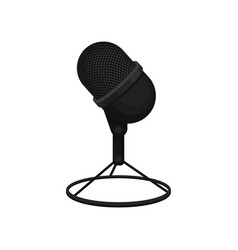 Flat icon of black table microphone on vector