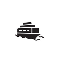 flat line cruise ship icon symbol sign logo vector image