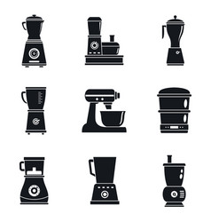 Food processor machine icon set simple style vector