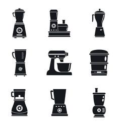 food processor machine icon set simple style vector image