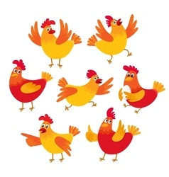 Funny cartoon red and orange chicken hen in vector image