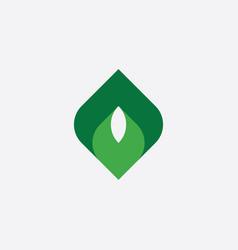 geometric leaf letter o green logo symbol vector image