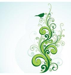 Green floral and bird design vector