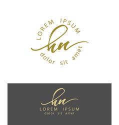 h n handdrawn brush monogram calligraphy logo vector image