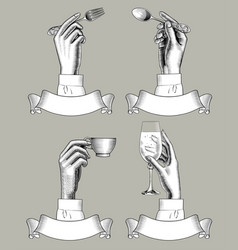 Hands holding spoon fork coffee cup and vine vector
