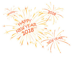 happy new year greeting card design with fireworks vector image