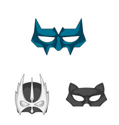 Isolated object of hero and mask symbol set of vector