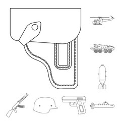 Isolated object of weapon and gun logo set vector