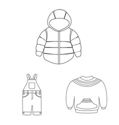 Isolated object wear and child sign set of vector